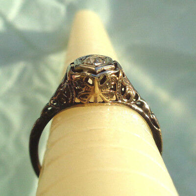 BEAUTIFUL ANTIQUE 10k GOLD DIAMOND BUTTERFLY ENGAGEMENT SOLITAIRE RING NOT SCRAP