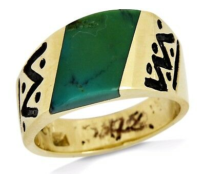 1980's R.H & Co Natural Turquoise Ring 14k SOLID Yellow Gold