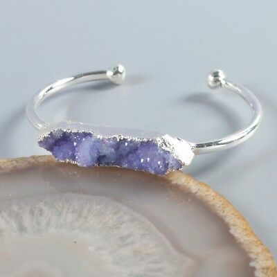 Purple Agate Druzy Geode Bangle Silver Plated H104209