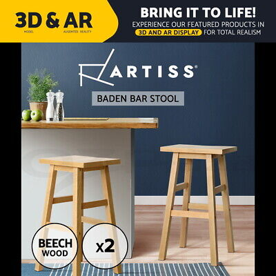 2x BADEN Wooden Bar Stool Dining Barstool Chairs Kitchen Bistro Cafe Natural