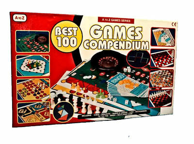 100 Game Compendium Set Snakes And Ladders Ludo, Backgammon Draughts Bingo BNIB