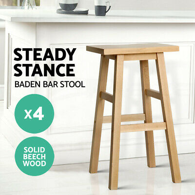 4x BADEN Wooden Bar Stool Dining Barstool Chairs Kitchen Bistro Cafe Natural