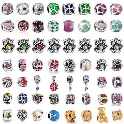 European Flowers Charms Bead Pendant Fit Sterling 925 Silver Bracelets Necklace