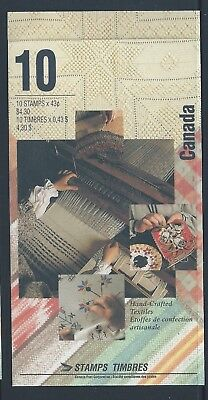 Canada Booklet 1993 Hand-Crafted Textiles #BK159b MNH