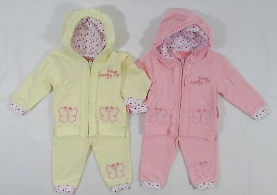 Babies Baby Girls Hoodie Pants Jacket Outfit Butterfly Pink Lemon 2 Piece Set 9