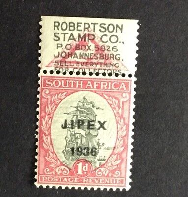 South Africa 1936 Jipex Overprint With Robertson Stamp Co Advertising Label MNH