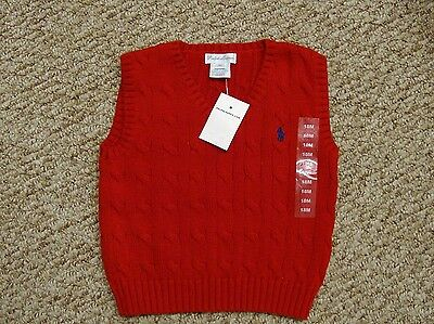 Nwt Ralph Lauren Toddler Boys Cable Knit Sweater Vest Red 18M