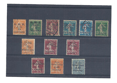 Syrie Occupation Francaise  12 Timbres Semeuse  Dont 3 Syrie Grand Liban