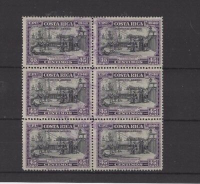 COSTA RICA ' AIR ' 1947, SG438 TY 156 45c BLACK AND VIOLET, USED BLOCK....G.C.V.
