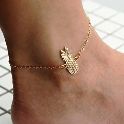 Womens Gold Hollow Dimensional Pineapple Anklet Chain Jewellery Foot Beach Gifts