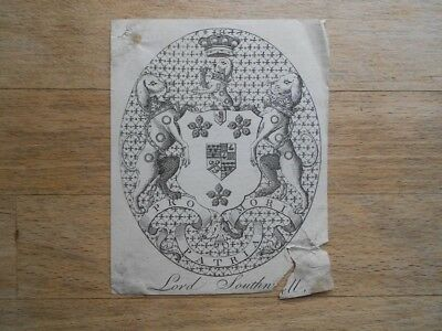 Antique armorial bookplate Lord Southwell with dogs? shield crown motto