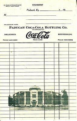 Paducah Coca-Cola Bottling Co..paducah, Ky. Invoice  Nice Picture Of Coke Plant