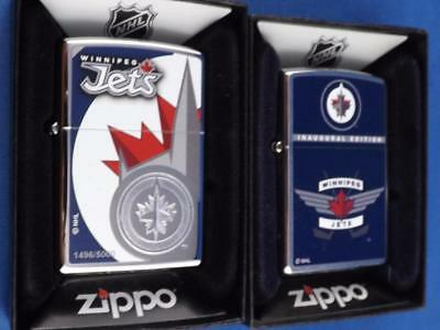 WINNIPEG JETS ZIPPO LIGHTER GIFT LOT NUMBERED 1496/5000 & 1rst YEAR NHL HOCKEY