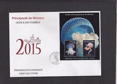 Monaco 2015 Jelly Fish Oceanography Museum MS First Day Cover  FDC