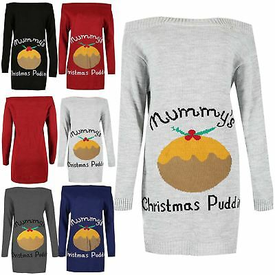 Womens Christmas Mummy's Pudding Knit Off The Shoulder Jumper Ladies Mini Dress