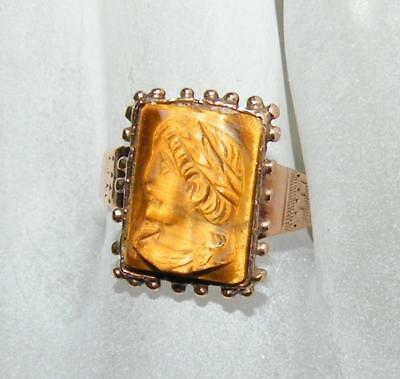 Victorian  10K Rose Gold Cameo Ring - Size 6