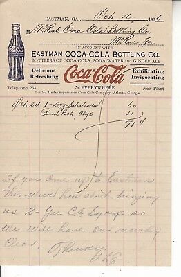 THE EASTMAN COCA-COLA BOTTLING CO. INVOICE  . DATED  4/1st  1928  RED COCA-COLA