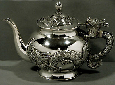 Chinese Export Silver Teapot     ** Battling Dragons **               Signed