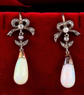 Georgian Natural Harlequin Opal Drop Diamond Rare Earrings!