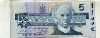 1986 Bank Of Canada $5 Currency Note Au 8100E