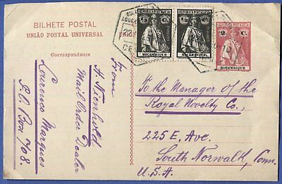 N273 - MOZAMBIQUE Portugal 1920 uprated 2c postal card LORENCO MARQUES to USA
