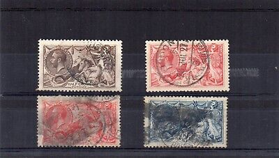 G.B. - used Seahorses x 4 - 1913/18 issues to 10/- - couple of nice CDS's