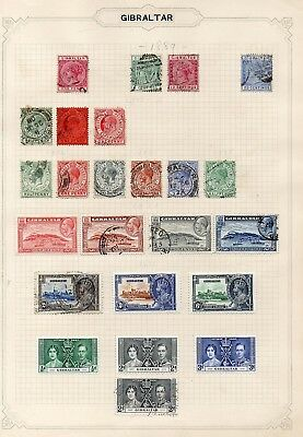 Album Sheets  - Gibraltar x 47 stamps - Hinged Mint and Used