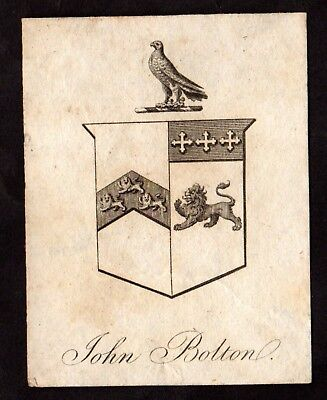 Book Plate / Ex Libris ~ JOHN BOLTON ~ Early SMALL