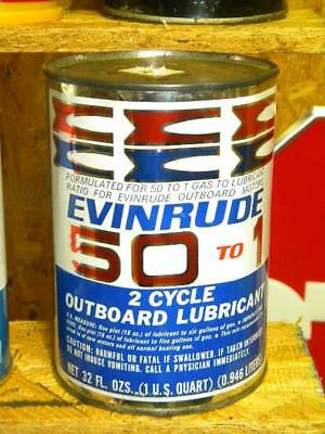 Old Evinrude Marine Boat 1 Quart Metal 2 Cycle Motor Oil FULL Can