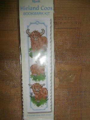 HIGHLAND COW bookmark cross stitch kit incl tassel and felt backing rrp6.95 NEW