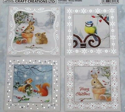 Winter Wildlife Foiled & Die Cut Christmas A4 Sheet Toppers Birds Squirrel Rabbi