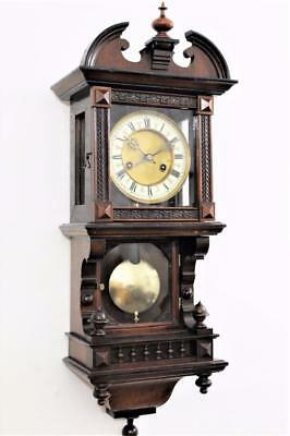 GOOD ANTIQUE GERMAN HAC BALCONY CLOCK STRIKING HOUR & HALF HOURS Circa 1900