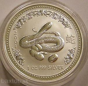 2001 AUSTRALIAN LUNAR YEAR OF THE SNAKE w/ EGGS 1 oz  SILVER COIN *BU* ~Series 1