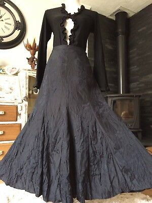 Fab Autograph Black Crinkle Look Fit To Flare Embossed Maxi Skirt Size 16 Whitby