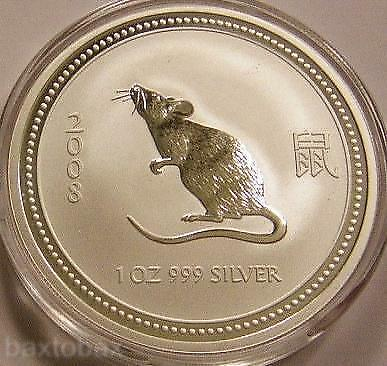 2007/2008 AUSTRALIAN LUNAR YEAR OF THE RAT  1 oz.  SILVER COIN *BU* ~ Series 1