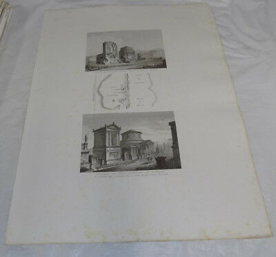 """1856 Print 17x22""""/ANCIENT ROMAN BURIAL MONUMENTS, APPIA WAY 8TH TO 9TH MILE ROME"""