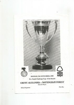 F A Youth Cup Crewe v Notts Forest 1990 VGC