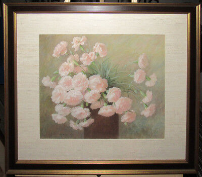 Anna Hardy Carnations in Vase 19th Cent. Floral Still Life Listed Maine Artist