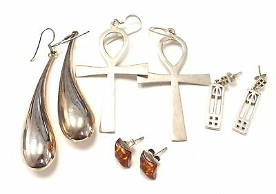 4 Pairs of 925 STERLING SILVER Earrings Including Amber Studs - S42