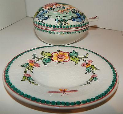 Hand Painted Sauce Boat With Spoon & Cover