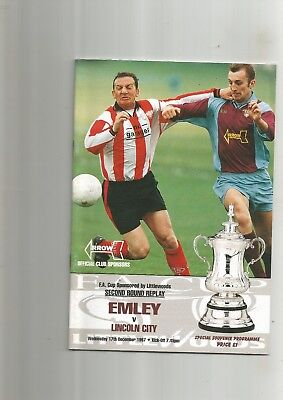 F A Cup 2rd Rd Replay Emley v Lincoln City 1997 VGC