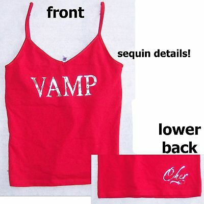 Cher! Vamp Sequins Logo Red Girls Camisole Shirt M New