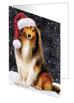 Let it Snow Christmas Rough Collie Dog Santa Hat Set of 10 Greeting Cards T147