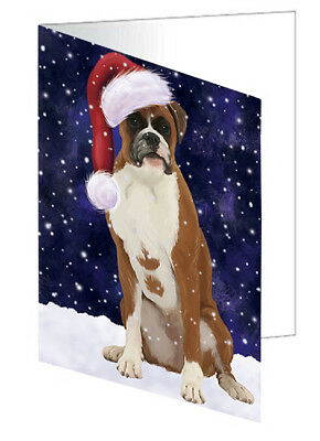 Let it Snow Christmas Boxer Dog Santa Hat Set of 10 Greeting Cards T177