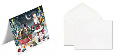 Merry Christmas Santa Sled Shar-Pei Dogs Set of 10 Greeting Cards T290