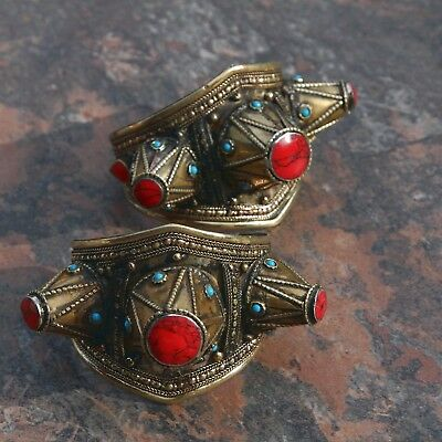 Bracelet PAIR (2pc) Turkman Tribal Dance SPIKED Real CORAL BellyDance 502j55