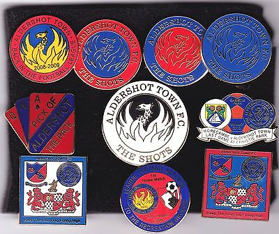 Collection of 10 Different Aldershot Town Badges Post Free