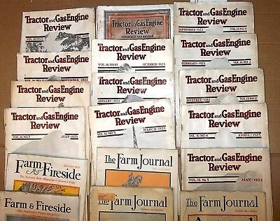 20 Vintage TRACTOR & GAS ENGINES FARM JOURNAL Magazines 1918 1923 1925 1922 1928