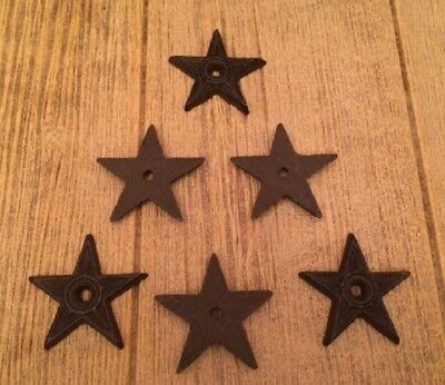 """Center Hole Texas Star Small 2 3/4"""" wide Cast Iron (Set of 6) Crafts 0170-02108"""