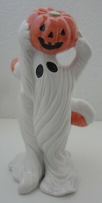 FITZ & FLOYD HALLOWEEN GHOSTS w/ PUMPKINS CANDLE HOLDER 1988 F&F